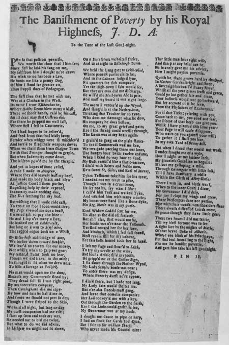 Broadside ballad entitled 'The Banishment of Poverty'