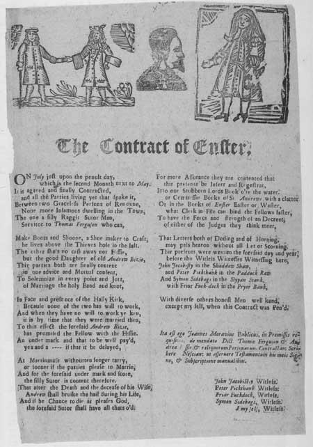 Broadside ballad entitled 'Contract of Enster'