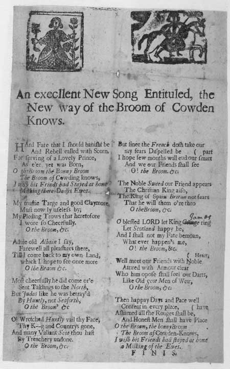 Broadside ballad entitled 'The New Way of the Broom of Cowden Knows'