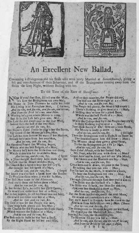 Broadside entitled 'An Excellent New Ballad concerning a Bridegroom and his Bride'