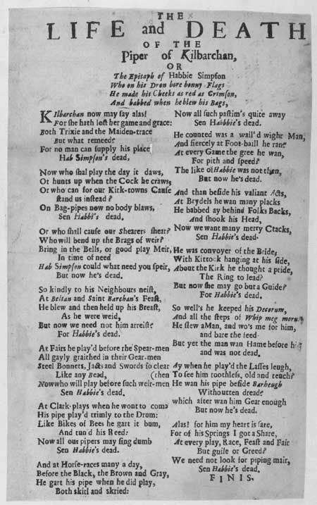 Broadside ballad entitled 'The Life and Death of the Piper of Kilbarchan [Habbie Simpson]'