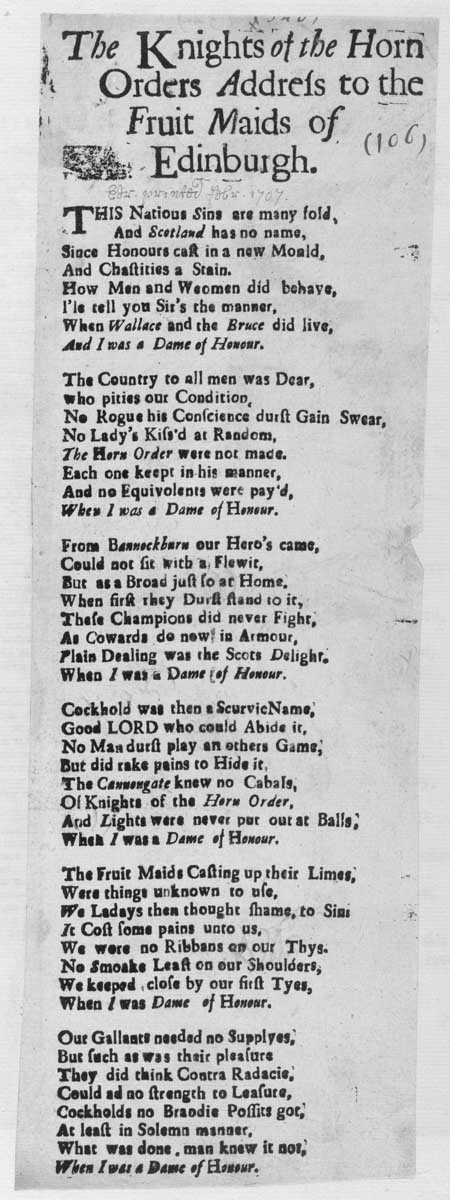 Broadside ballad entitled 'The Knights of the Horn Order's Address to the Fruit Maids of Edinburgh'