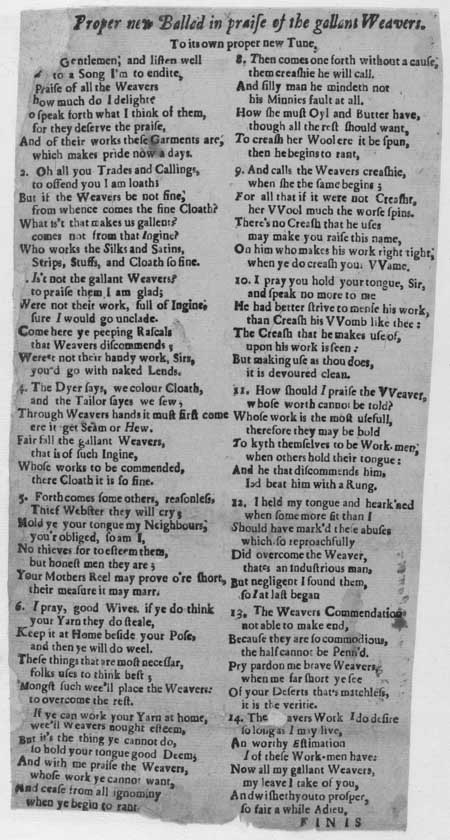 Broadside ballad entitled 'In Praise of the Gallant Weavers'