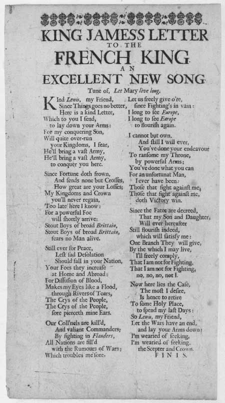 Broadside ballad entitled 'King James's Letter to the French King'