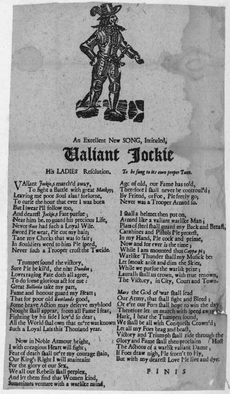 Broadside ballad entitled 'Valiant Jockie: His Lady's Resolution'