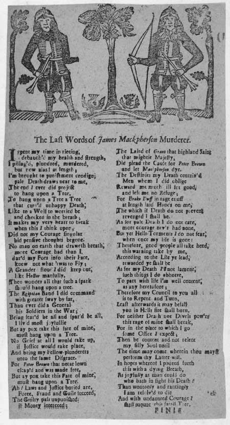 Broadside ballad entitled 'The Last Words of James Mackpherson Murderer'