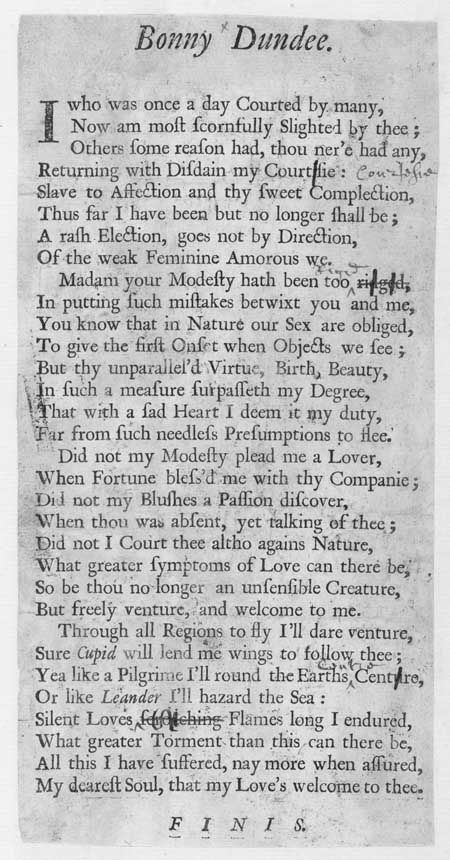 Broadside ballad entitled 'Bonny Dundee'