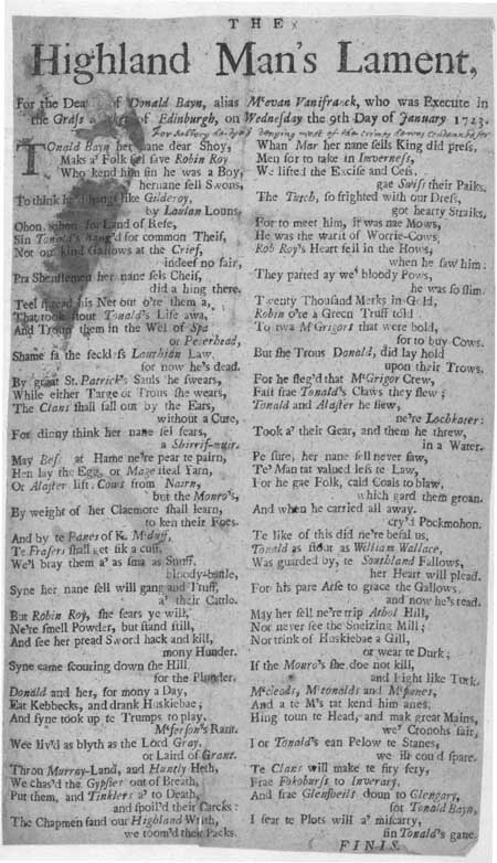 Broadside ballad entitled 'The Highland Man's Lament'
