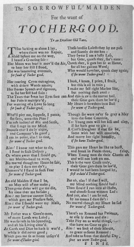 Broadside ballad entitled 'The Sorrowful Maiden'