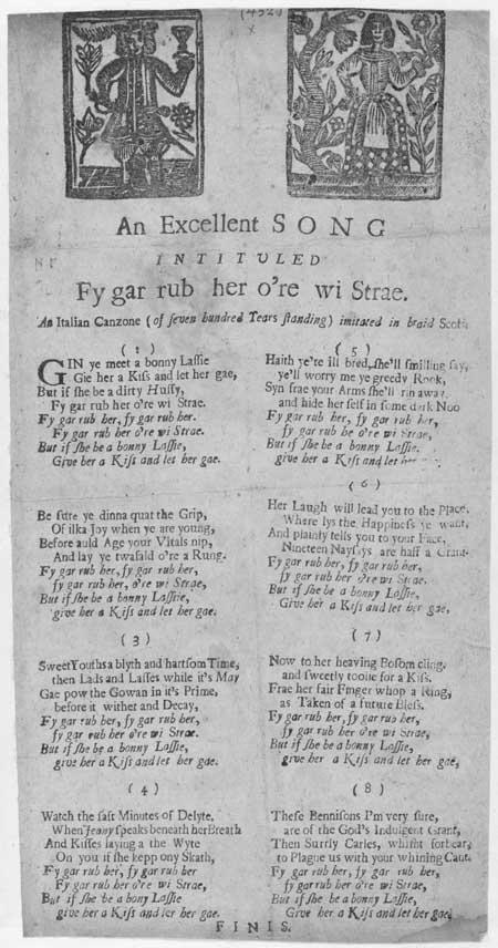 Broadside ballad entitled 'Fy gar rub her o're wi Strae'