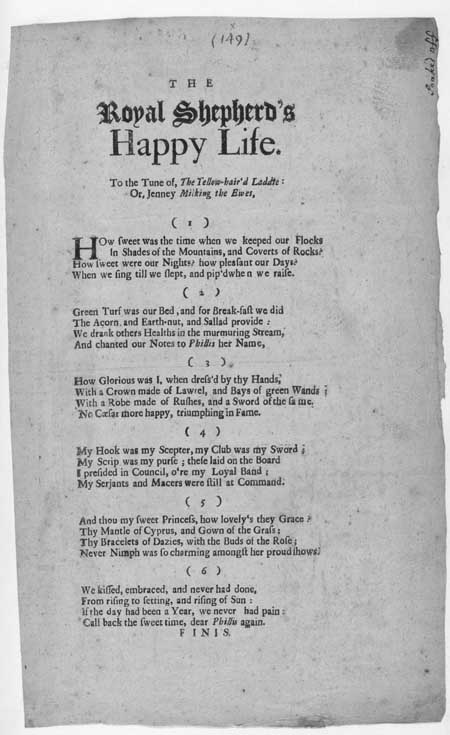 Broadside ballad entitled 'The Royal Shepherd's Happy Life'