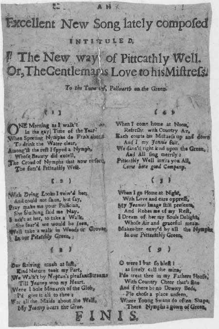 Broadside ballad entitled 'An Excellent New Song'