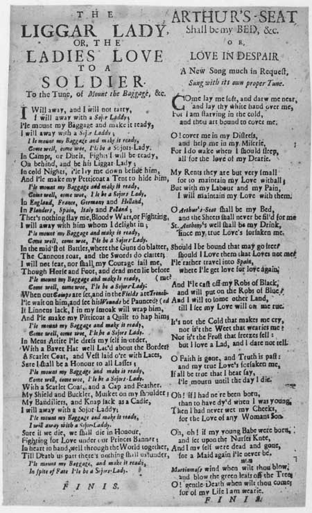 Broadside ballad entitled 'The Liggar Lady' and 'Arthur's Seat'
