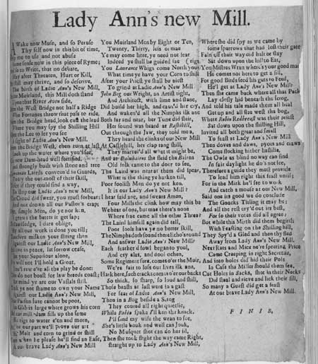 Broadside ballad entitled 'Lady Ann's New Mill'
