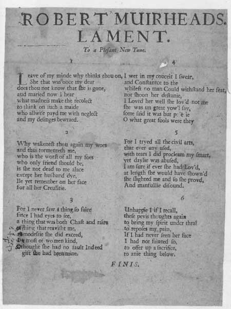 Broadside ballad entitled 'Robert Muirheads Lament'