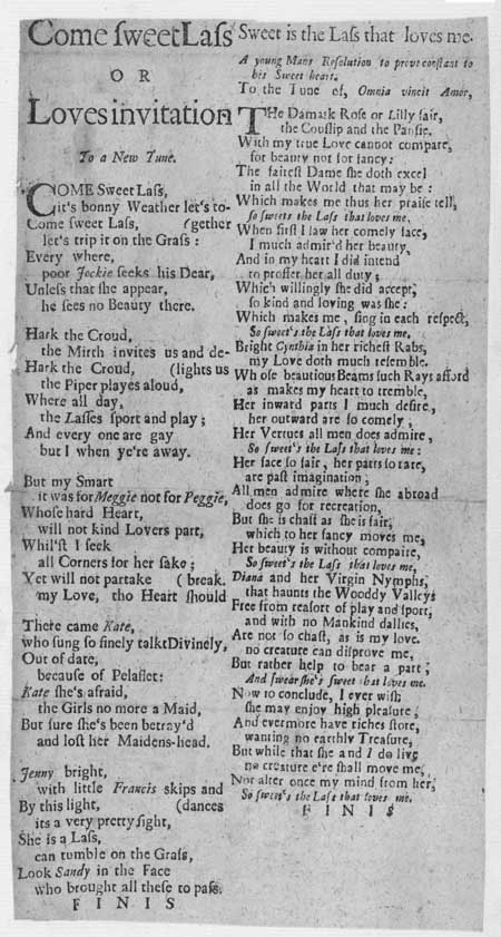Broadside ballad entitled 'Come Sweet Lass' and 'Sweet is the Lass that loves me'