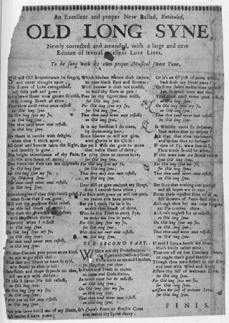 Broadside ballad entitled 'Old Long Syne'