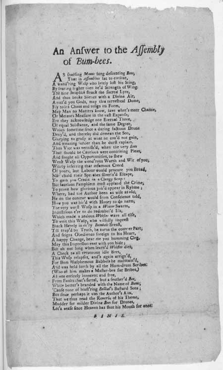 Broadside ballad entitled 'An Answer to the Assembly of Bum-bees'