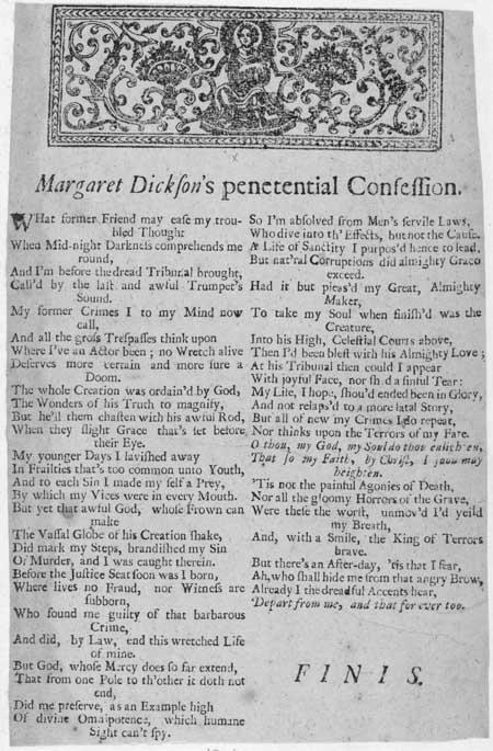Broadside entitled 'Margaret Dickson's Penetential Confession'