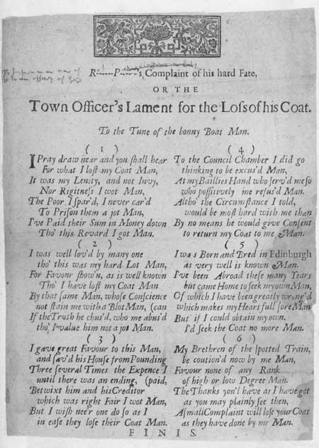 Broadside ballad entitled 'Town Officer's Lament'