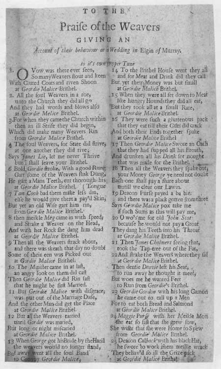 Broadside ballad entitled 'Praise of the Weavers'