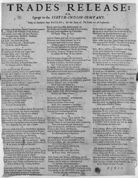 Broadside ballad entitled 'Trade's Release: or, Courage to the Scotch-Indian-Company'