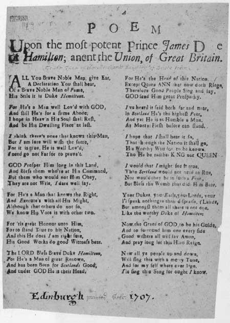Broadside regarding Prince James, Duke of Hamilton