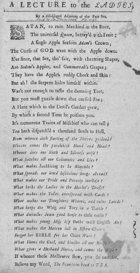 Broadside entitled 'A Lecture to the Ladies by a Disobliged Admirer of the Fair Sex'