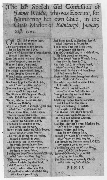 Broadside ballad concerning the execution of Jannet Riddle