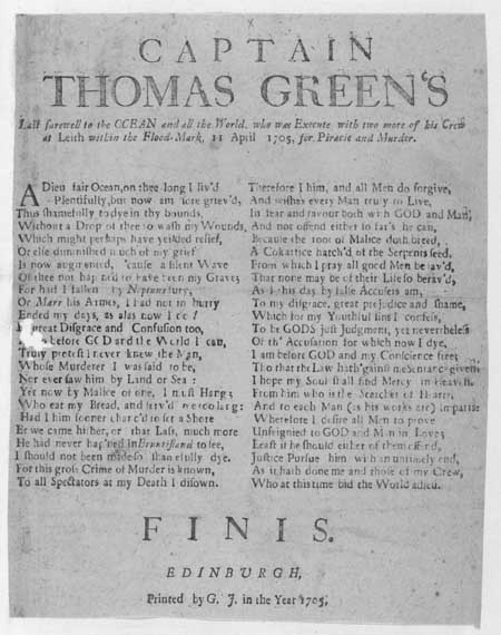Broadside ballad concerning the execution of Captain Thomas Green for piracy and murder
