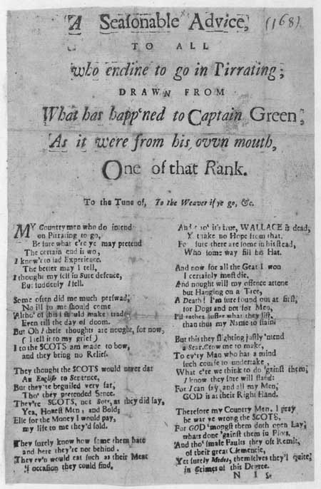 Broadside ballad concerning the terrible fate that awaits English pirates such as Captain Thomas Green