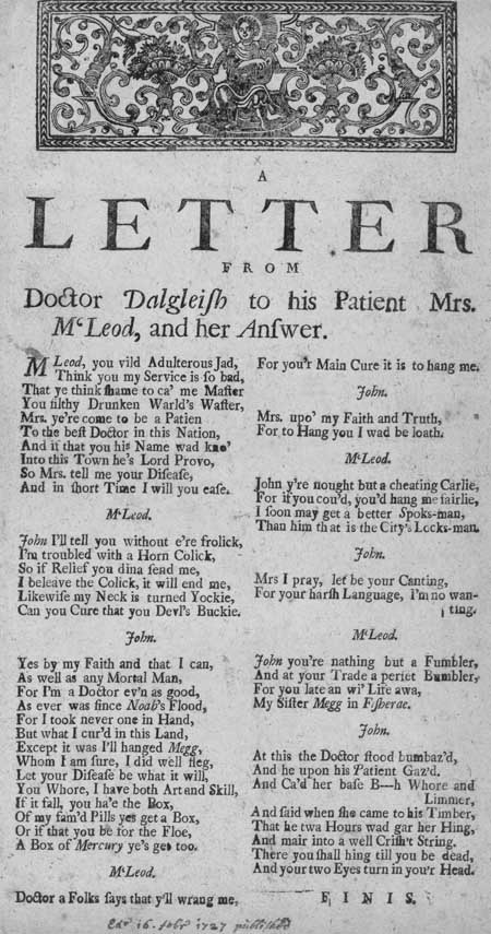 Broadside ballad entitled 'A Letter from Doctor Dalgeish to his Patient Mrs. M'Leod, and her Answer'