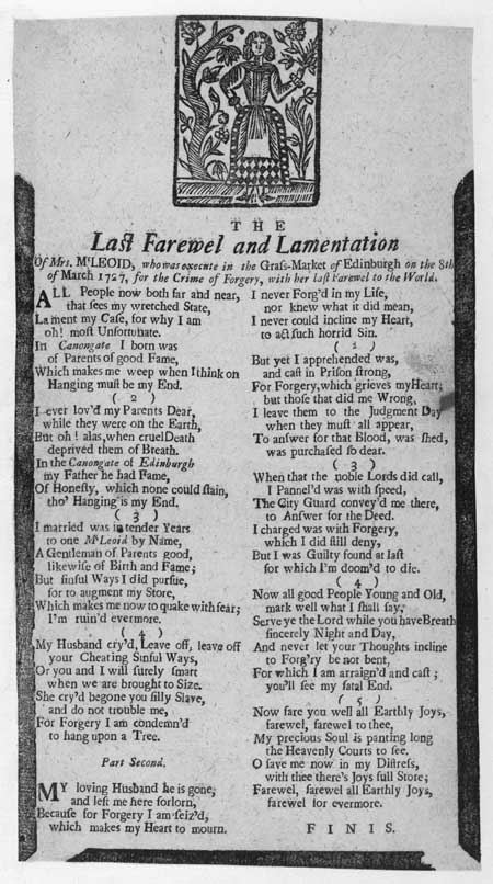 Broadside concerning the last words and lamentation of Mrs McLeod before her execution