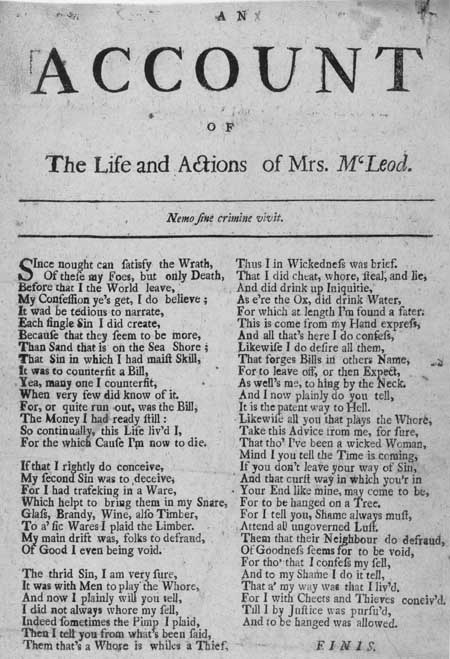 Broadside ballad entitled 'An Account of the Life and Actions of Mrs M'Leod'