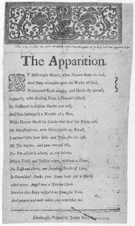 Broadside entitled 'The Apparition'