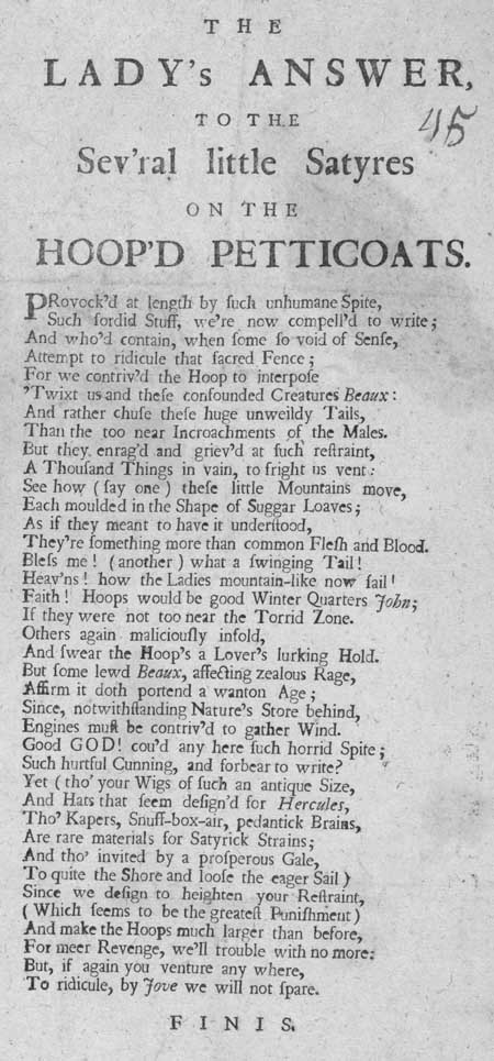 Broadside ballad entitled The Lady's Answer, to the Sev'ral little Satyres on the Hoop'd Petticoats'