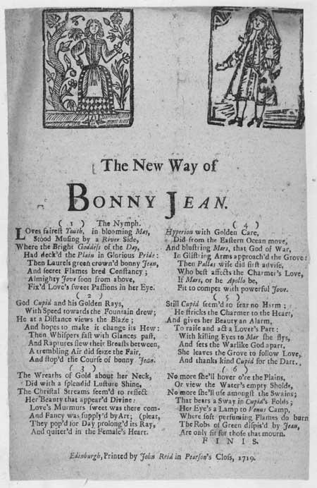 Broadside ballad entitled 'The New Way of Bonny Jean'