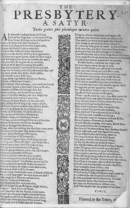 Broadside ballad entitled 'The presbytery. A satyr'