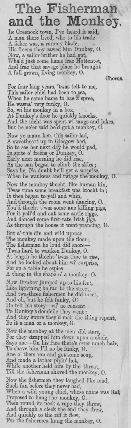Broadside ballad entitled 'The Fisherman and the Monkey'