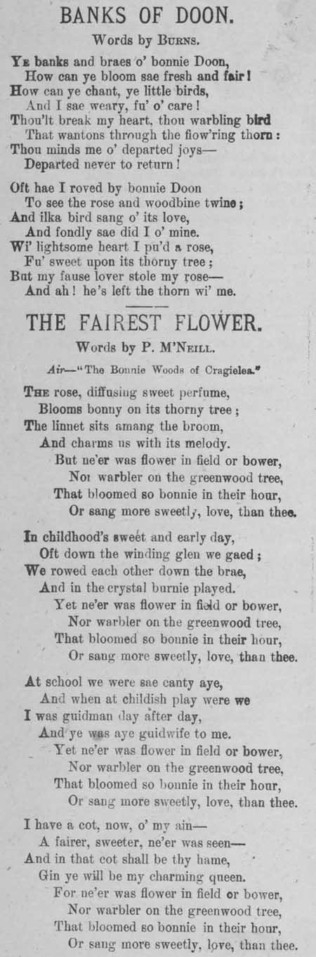 Broadside ballads entitled 'Banks of Doon' and 'The Fairest Flower'
