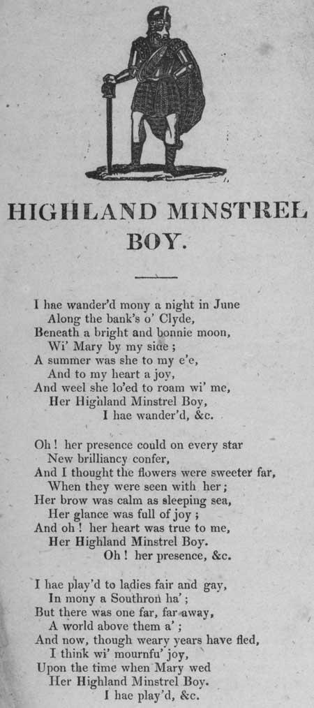 Broadside ballad entitled 'Highland Minstrel Boy'
