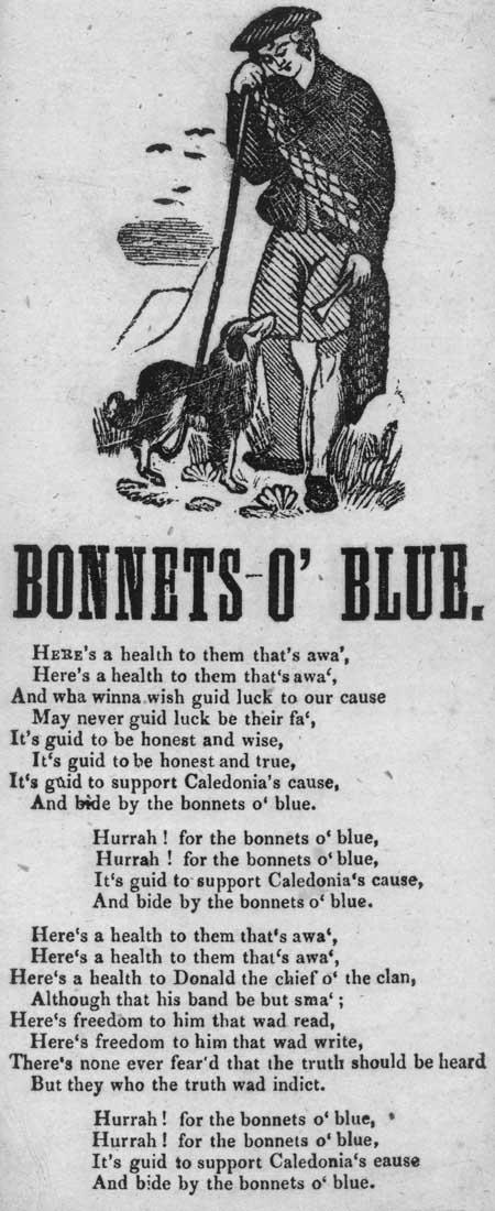 Broadside ballad entitled 'Bonnets o' Blue'