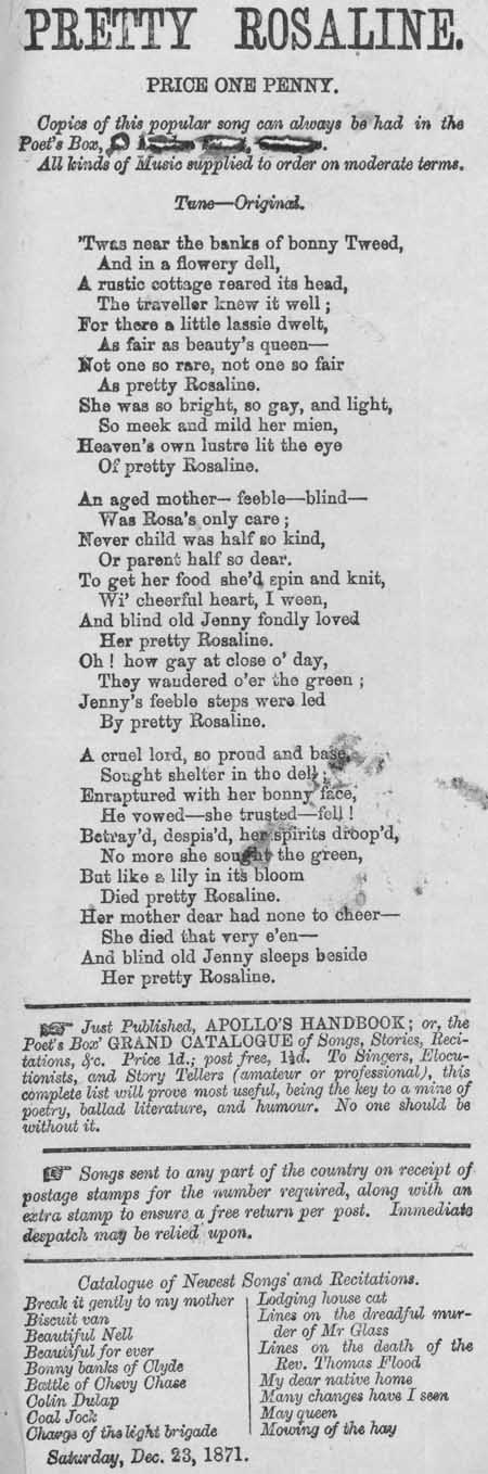 Broadside ballad entitled 'Pretty Rosaline'