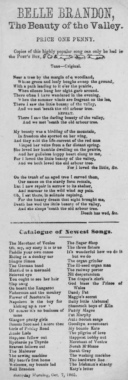 Broadside ballad entitled 'Belle Brandon, The Beauty of the Valley'