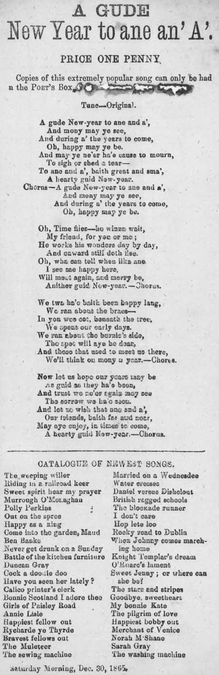 Broadside ballad entitled 'A Gude New Year to ane an' A'