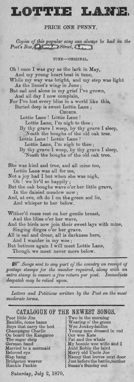 Broadside ballad entitled 'Lottie Lane'