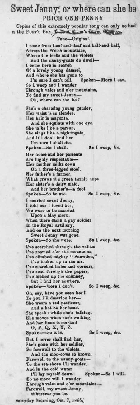 Broadside ballad entitled 'Sweet Jenny; or, Where Can She Be'