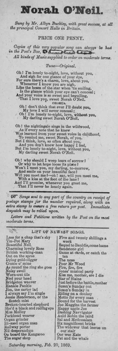Broadside ballad entitled 'Norah O'Neil'