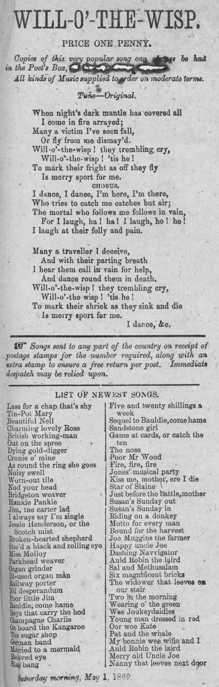 Broadside ballad entitled 'Will-o'-the-Wisp'