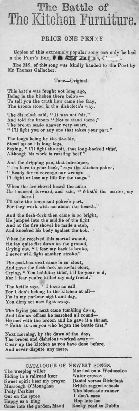 Broadside ballad entitled 'The Battle of the Kitchen Furniture'